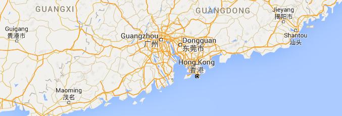 Hong Kong on map